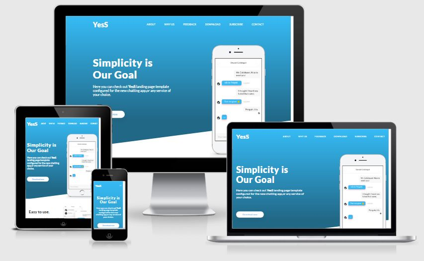 YesS - Responsive HTML5 Landing Page Template Screenshot 1