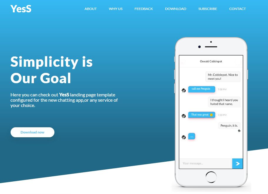 YesS - Responsive HTML5 Landing Page Template Screenshot 2