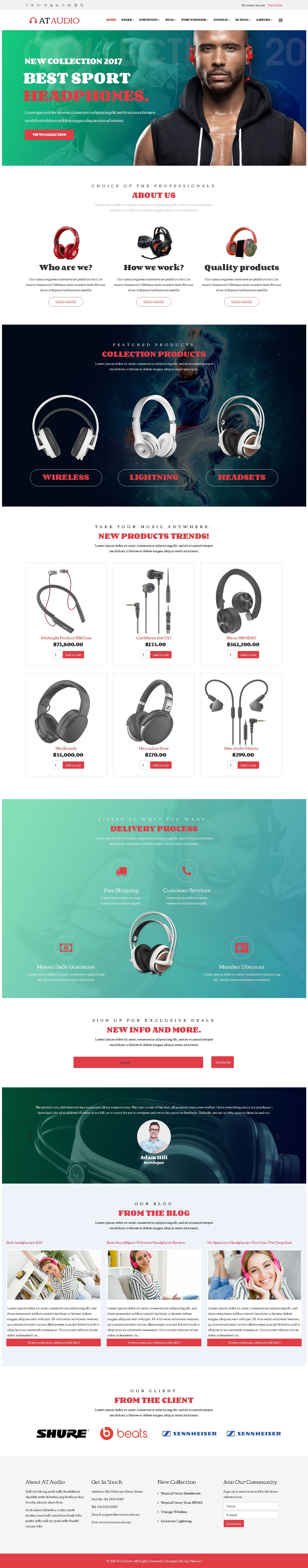 AT Audio –  Responsive Audio Joomla Template Screenshot 1