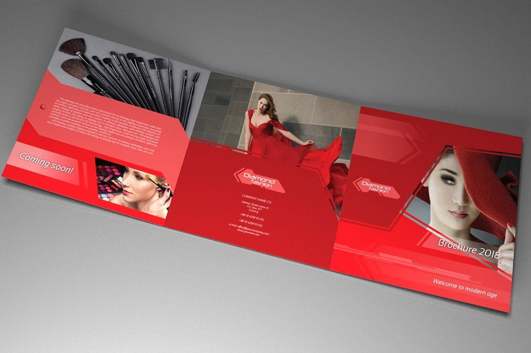 Indesign Brochure Red Diamond Template Screenshot 2