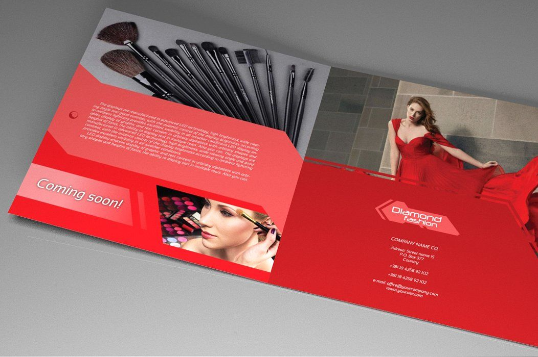 Indesign Brochure Red Diamond Template Screenshot 4
