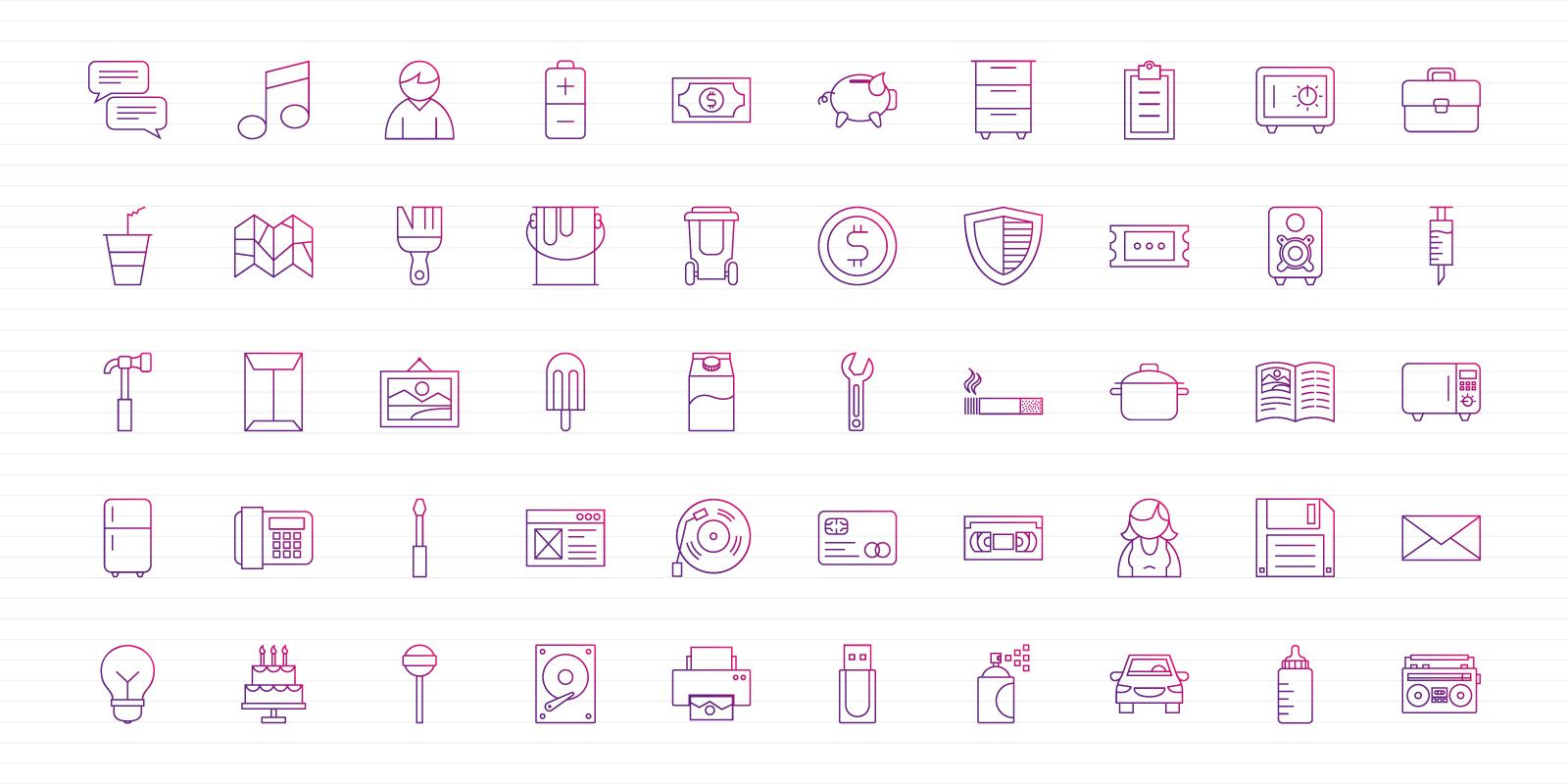 Purple Thin Lines - Vector Icon Pack Screenshot 1