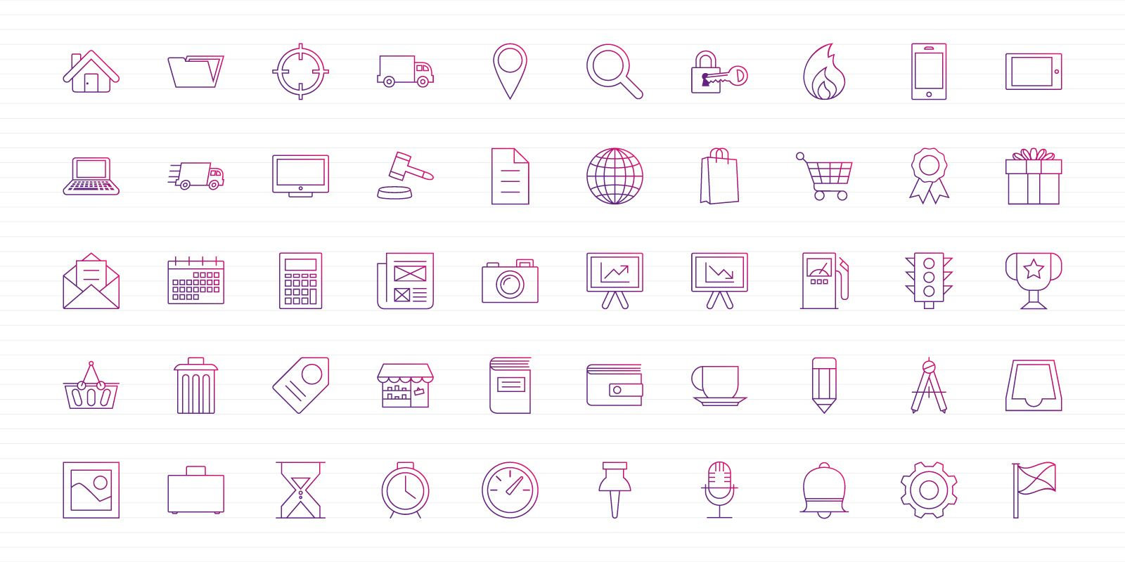 Purple Thin Lines - Vector Icon Pack Screenshot 3