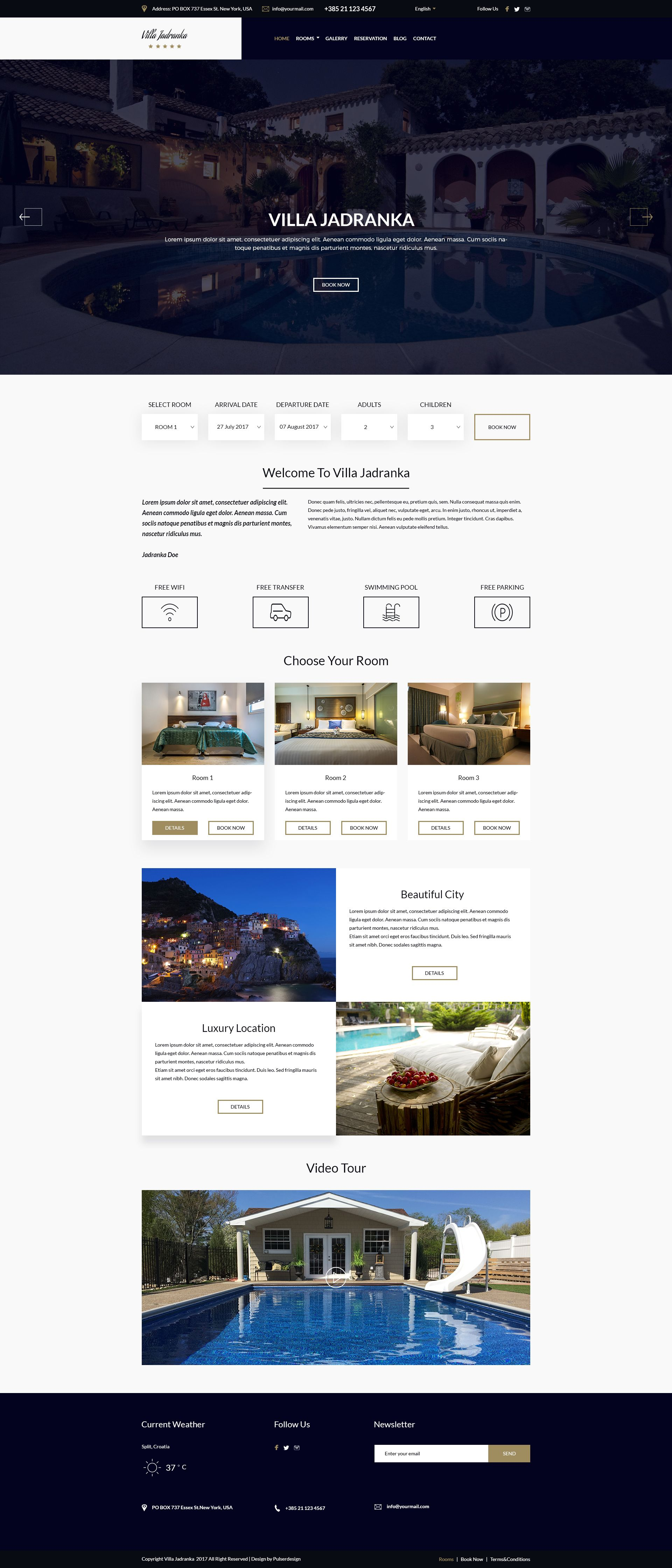 Villa Jadranka - Website PSD Template Screenshot 1