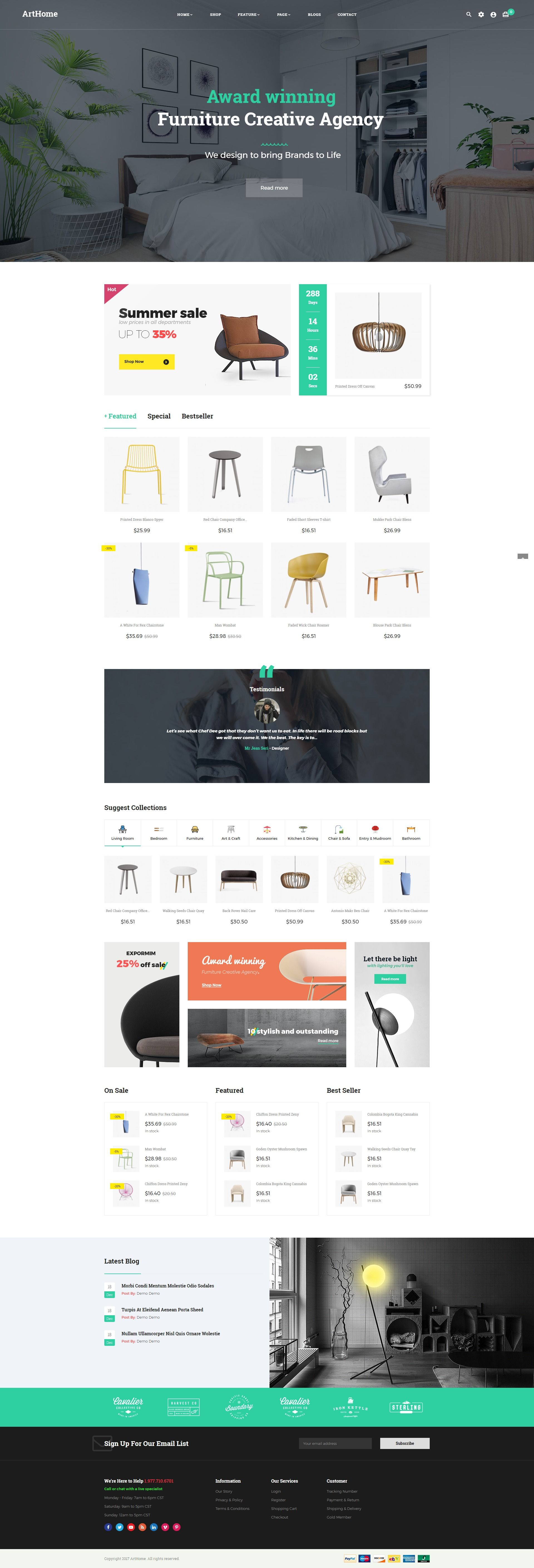 Pts - ArtHome - PrestaShop Furniture Theme Screenshot 1