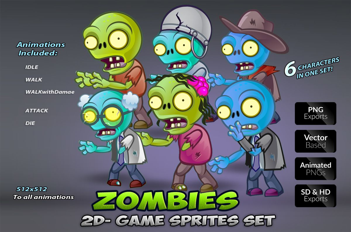6-Zombies Game Character Sprites Pack Screenshot 1