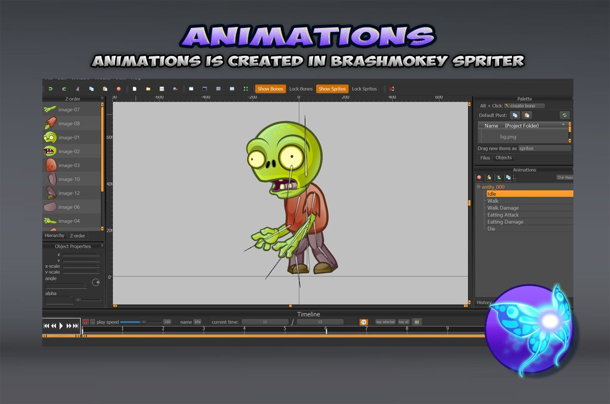 6-Zombies Game Character Sprites Pack Screenshot 4