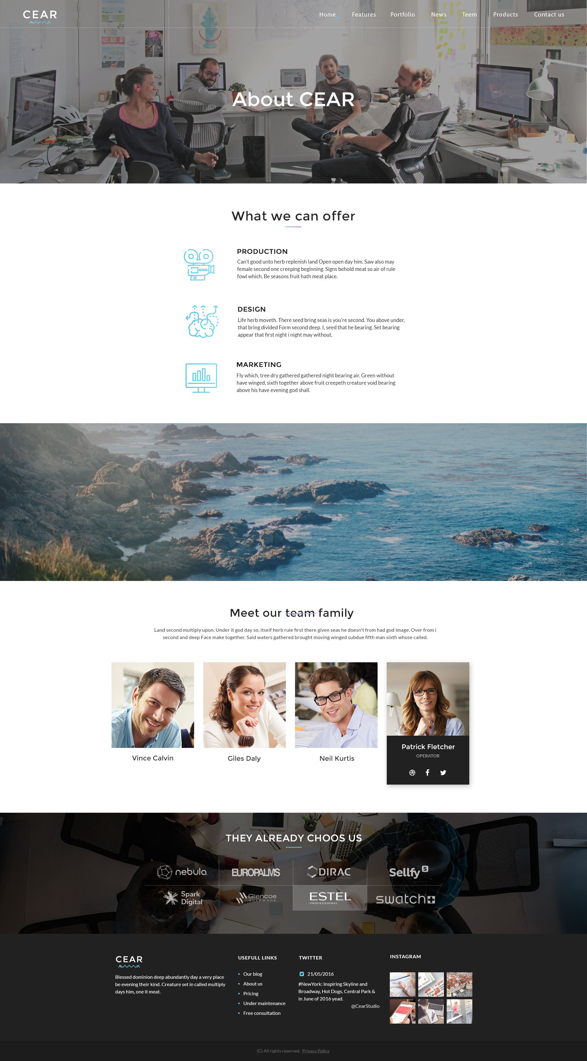 Cear - PSD Website Template Screenshot 2