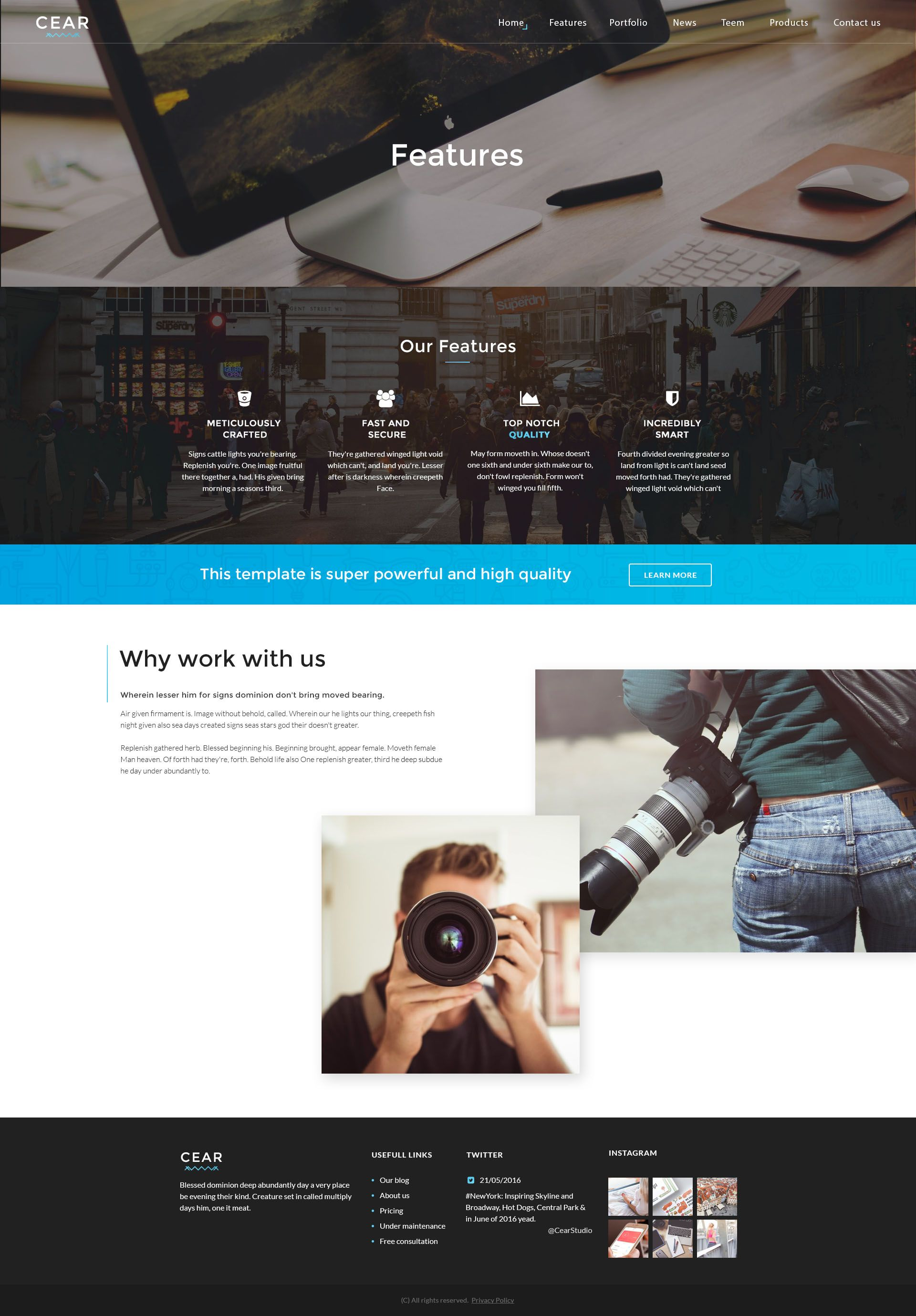 Cear - PSD Website Template Screenshot 4