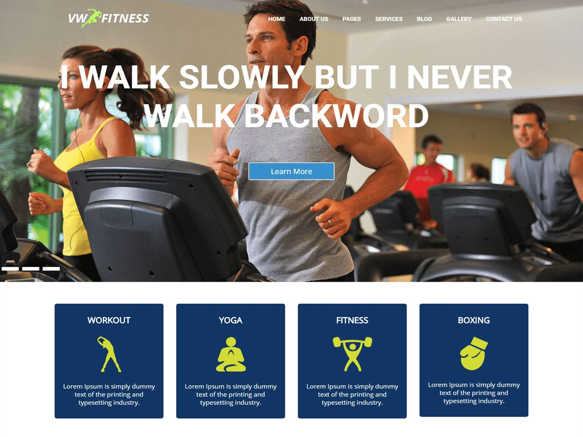 VW Fitness Pro - WordPress Theme Screenshot 1
