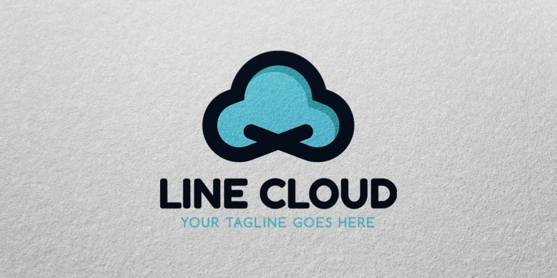 Line cloud logo template codester for Cloud template with lines