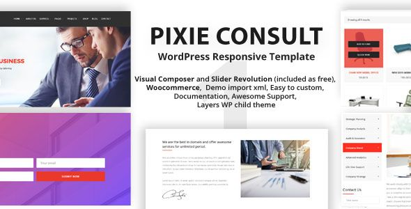 Pixie Consulting - WordPress Responsive Theme Screenshot 1