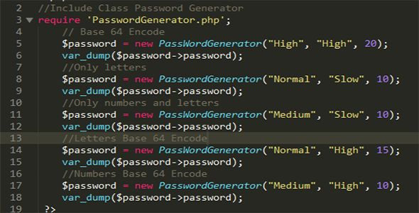 Password Generator PHP Class Screenshot 2