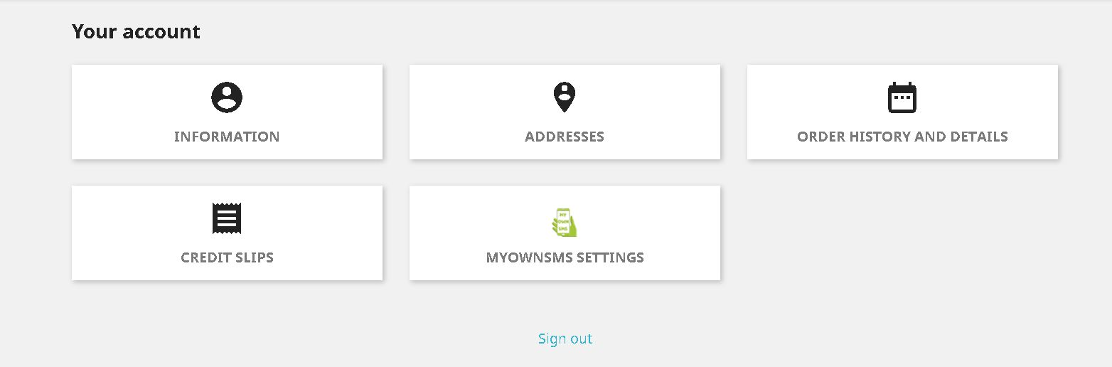 MyOwnSMS - PrestaShop Module Screenshot 1