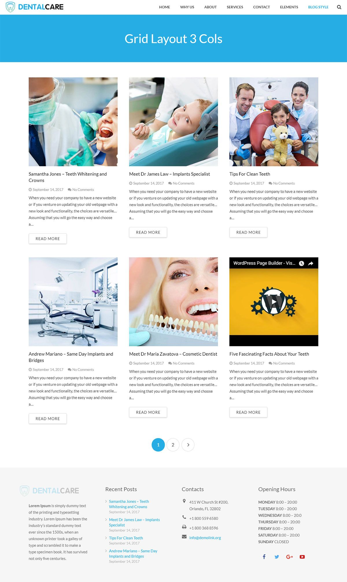 Dentist - Dental One Page WordPress Theme Screenshot 1
