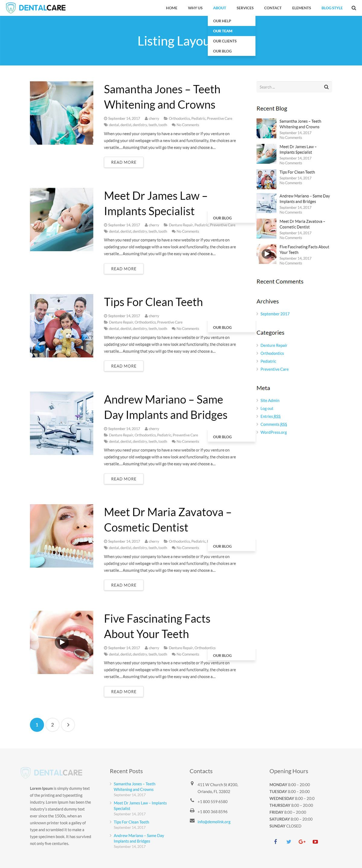 Dentist - Dental One Page WordPress Theme Screenshot 2