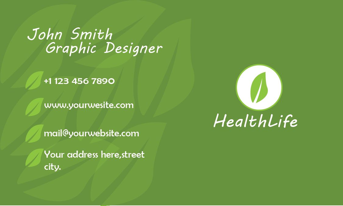 HealthLife Business Card Template Screenshot 2