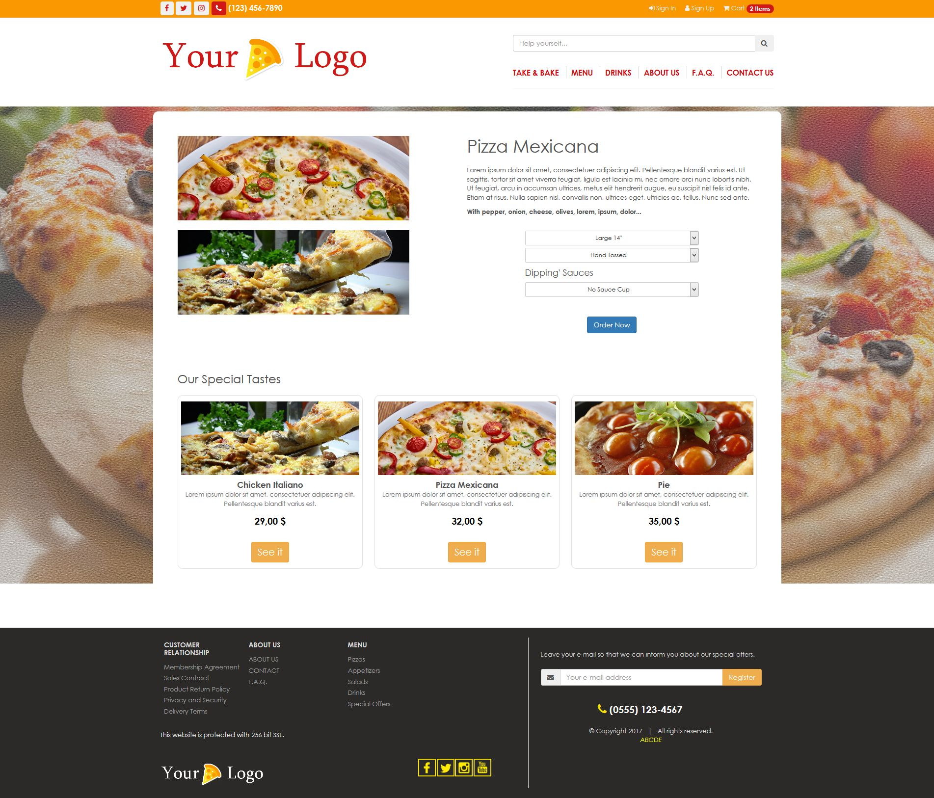 Simple HTML5 E-Commerce Template For Food Screenshot 3