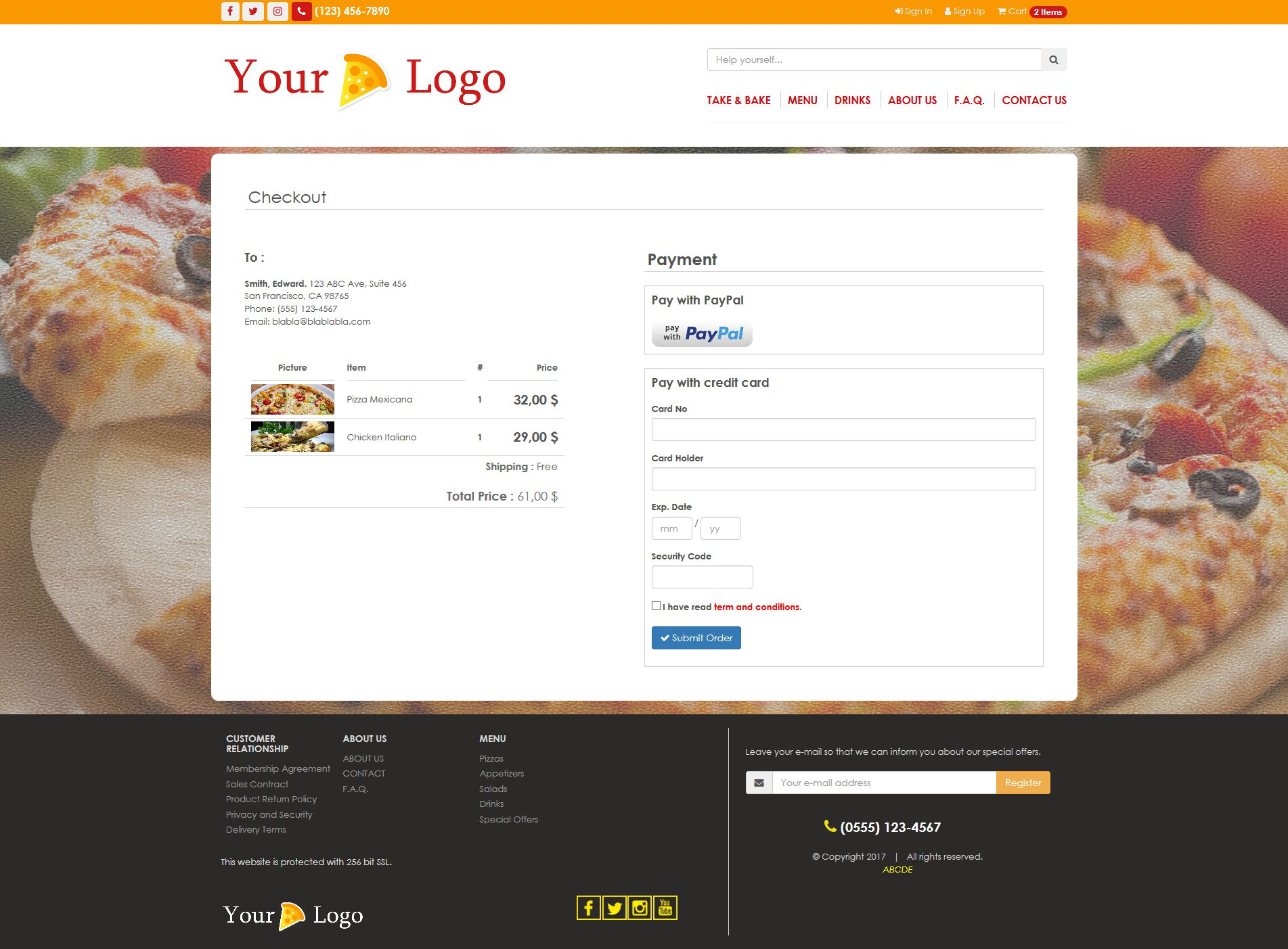 Simple HTML5 E-Commerce Template For Food Screenshot 6