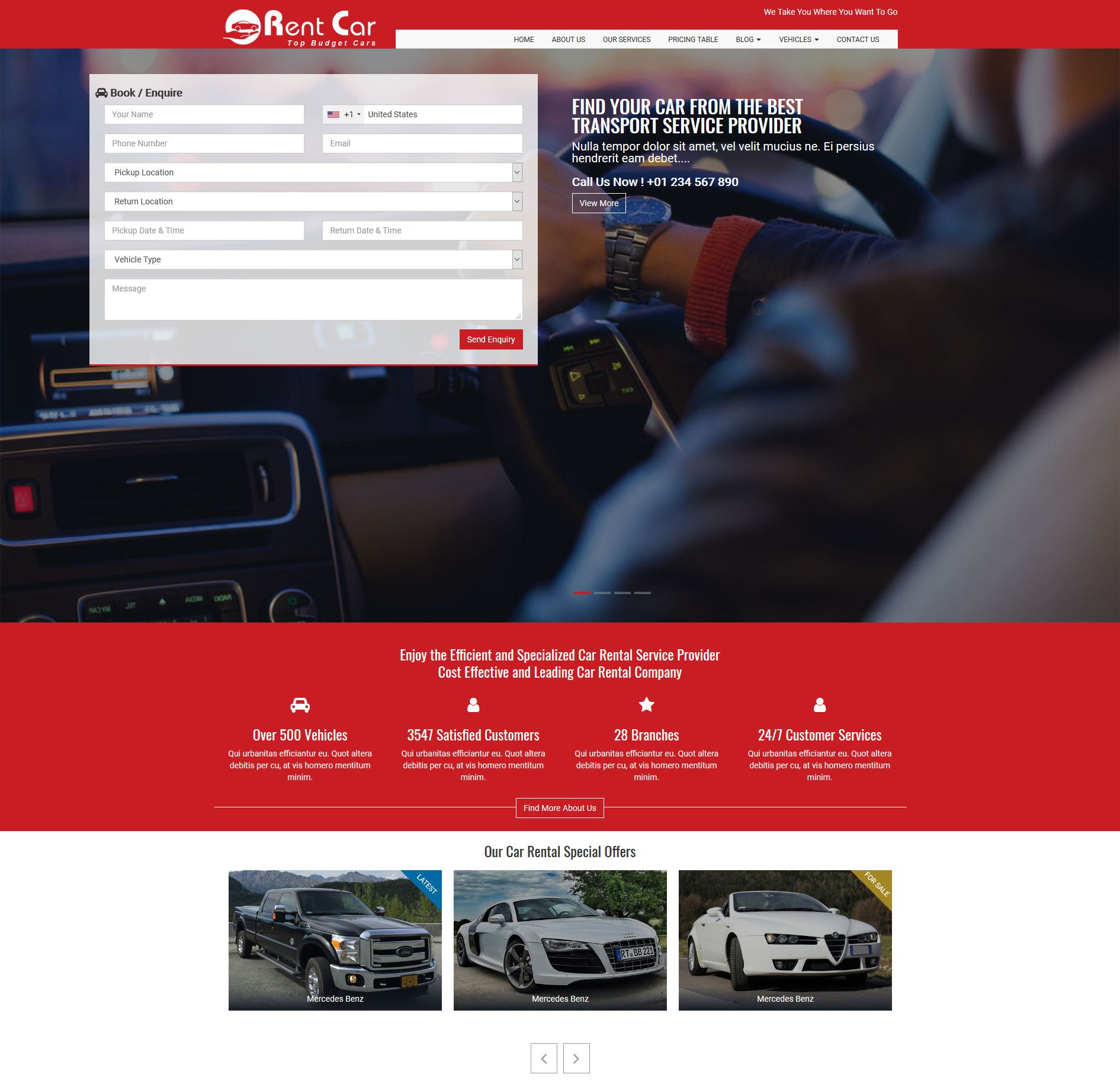 Rent Car HTML Template Screenshot 2