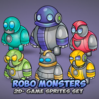 Robo Monsters Game Sprites Set