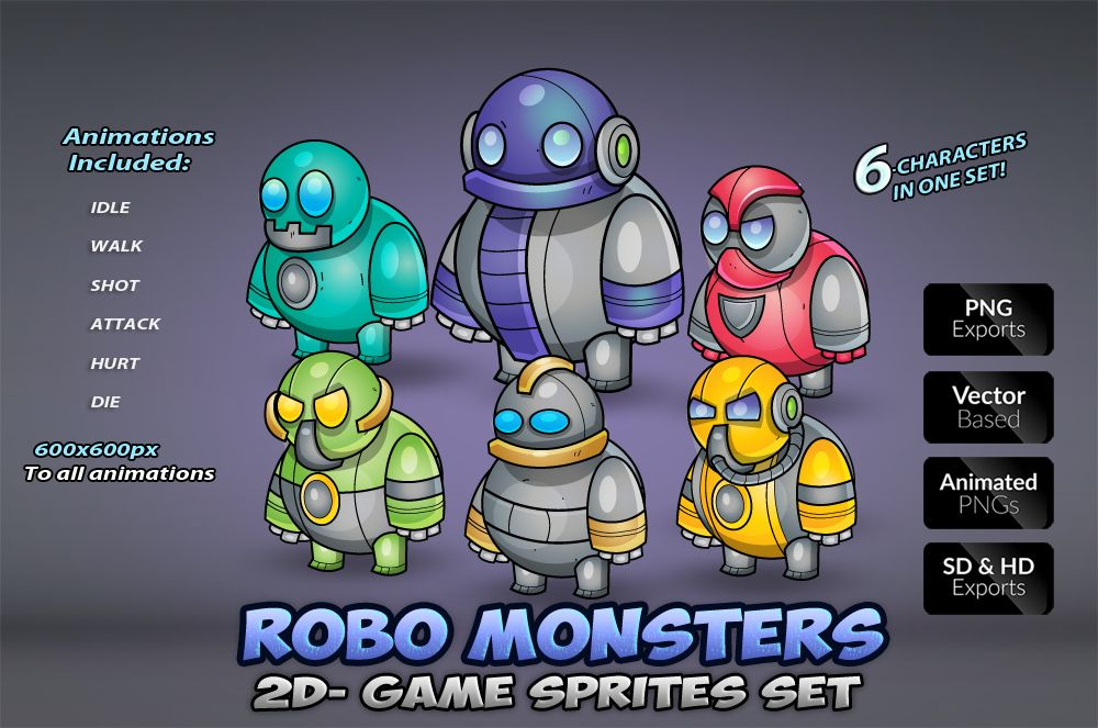 Robo Monsters Game Sprites Set Screenshot 1