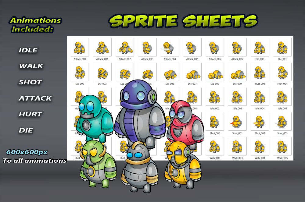 Robo Monsters Game Sprites Set Screenshot 2