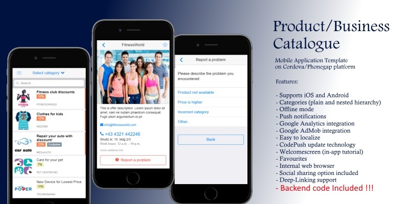 Product catalog and backend cordova app template codester maxwellsz