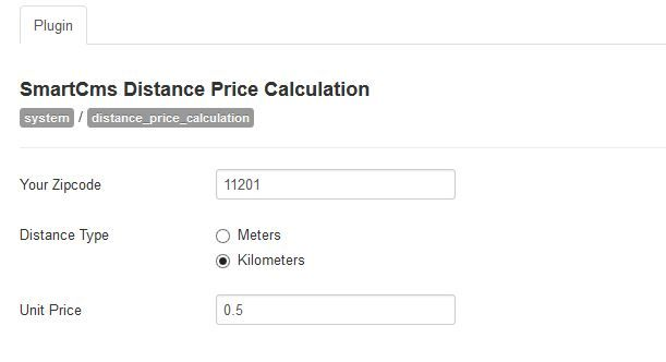Distance Price Calculation for Virtuemart Screenshot 1