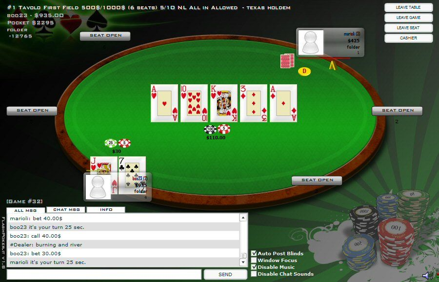 Flash Poker V2 - Multiplayer Poker PHP Script Screenshot 3