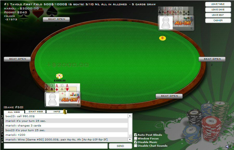 Flash Poker V2 - Multiplayer Poker PHP Script Screenshot 4