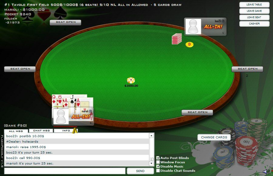 Flash Poker V2 - Multiplayer Poker PHP Script Screenshot 5