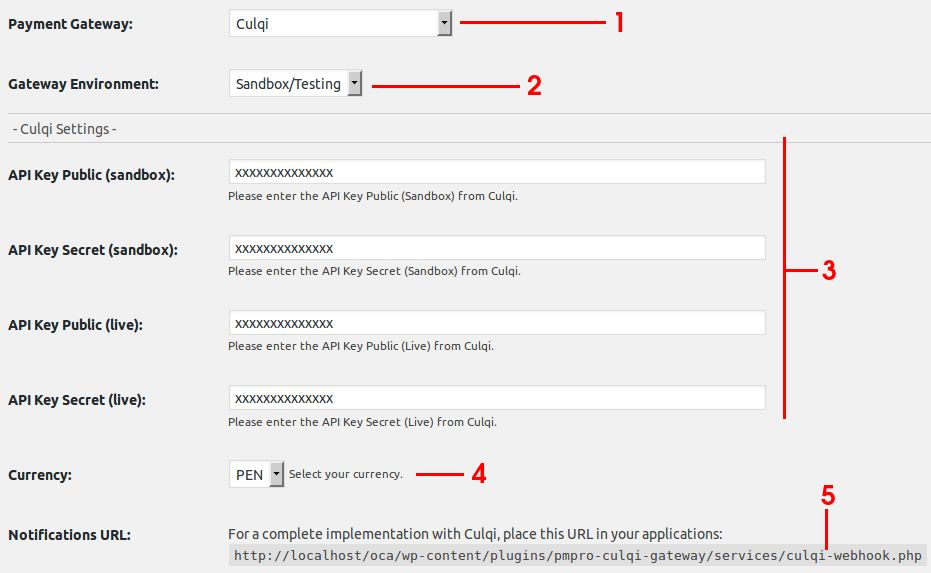 Culqi Gateway for Paid Memberships Pro Screenshot 1