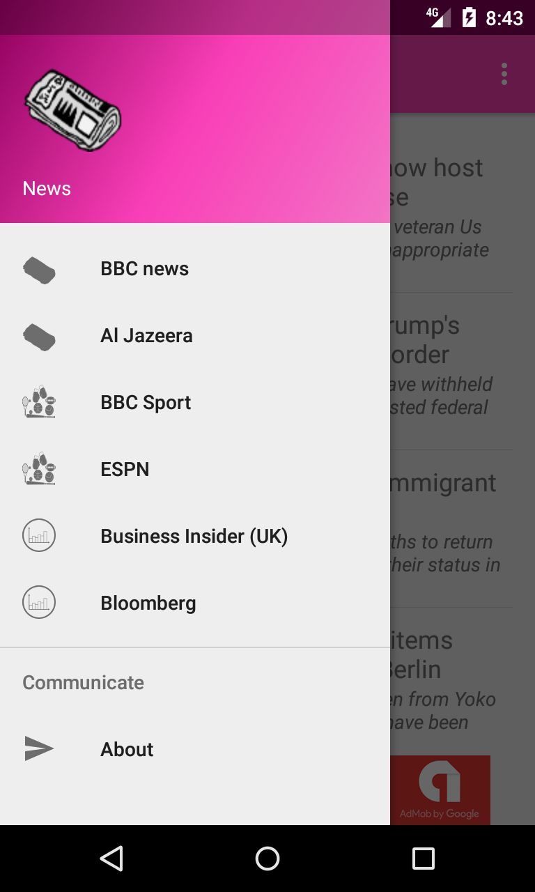 News Application - Android Source Code Screenshot 1