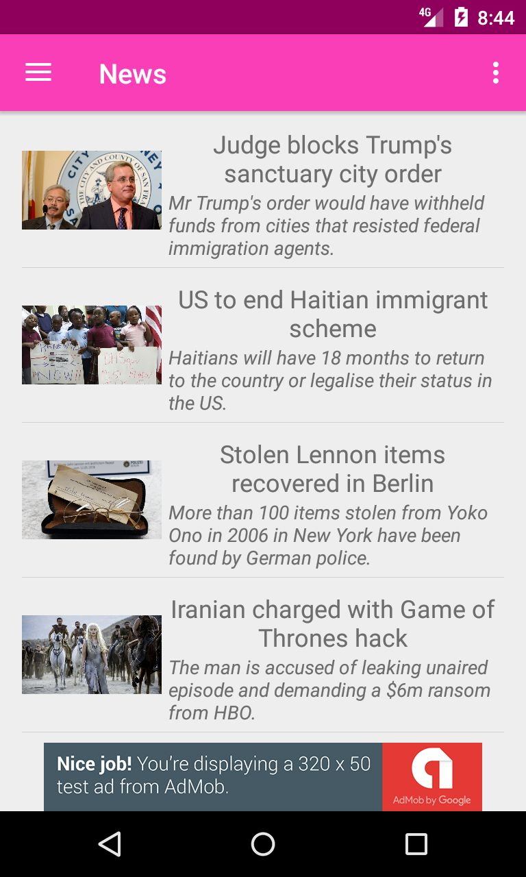 News Application - Android Source Code Screenshot 2