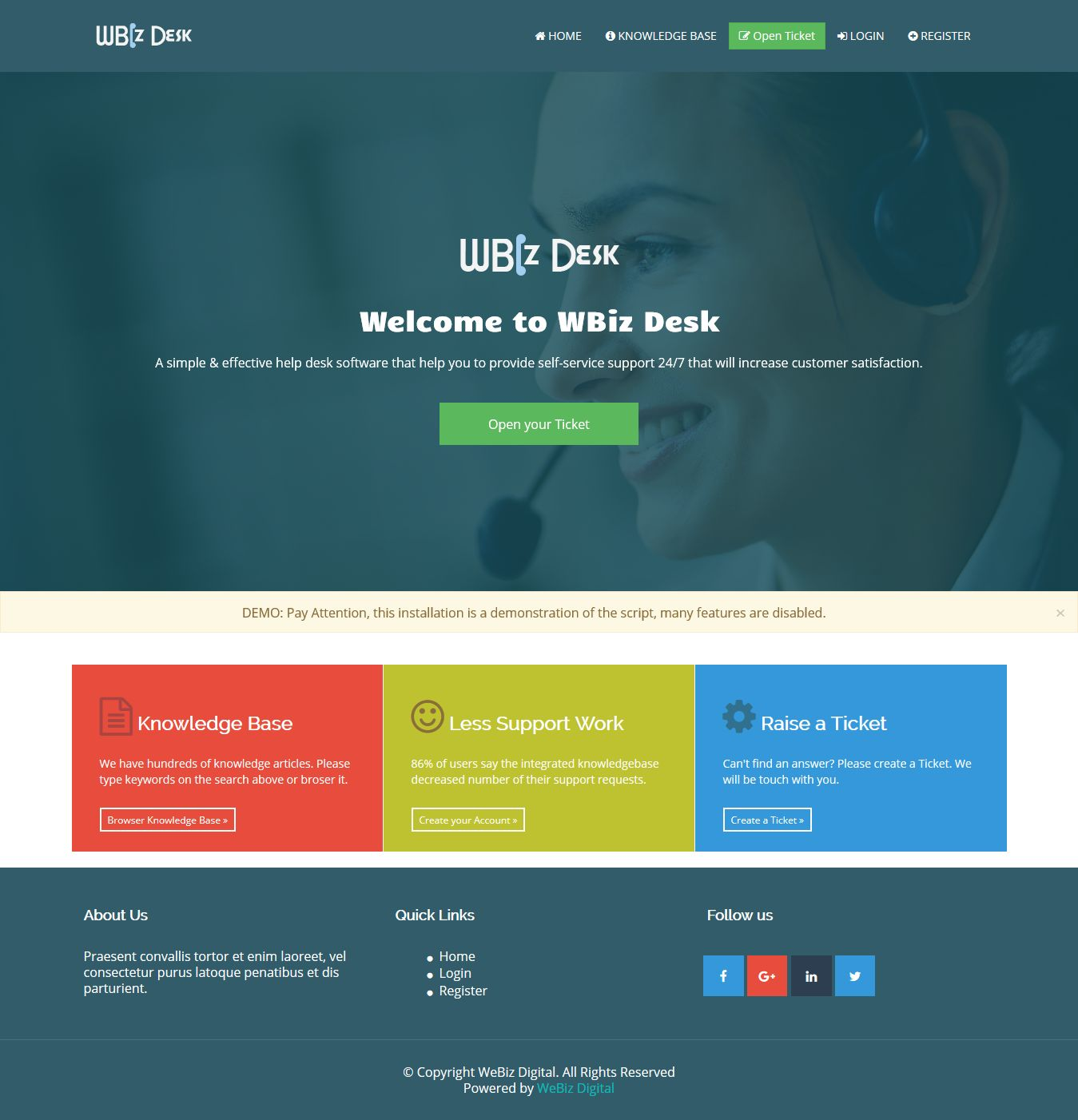 WBiz Desk - Simple and Effective Help Desk System Screenshot 1