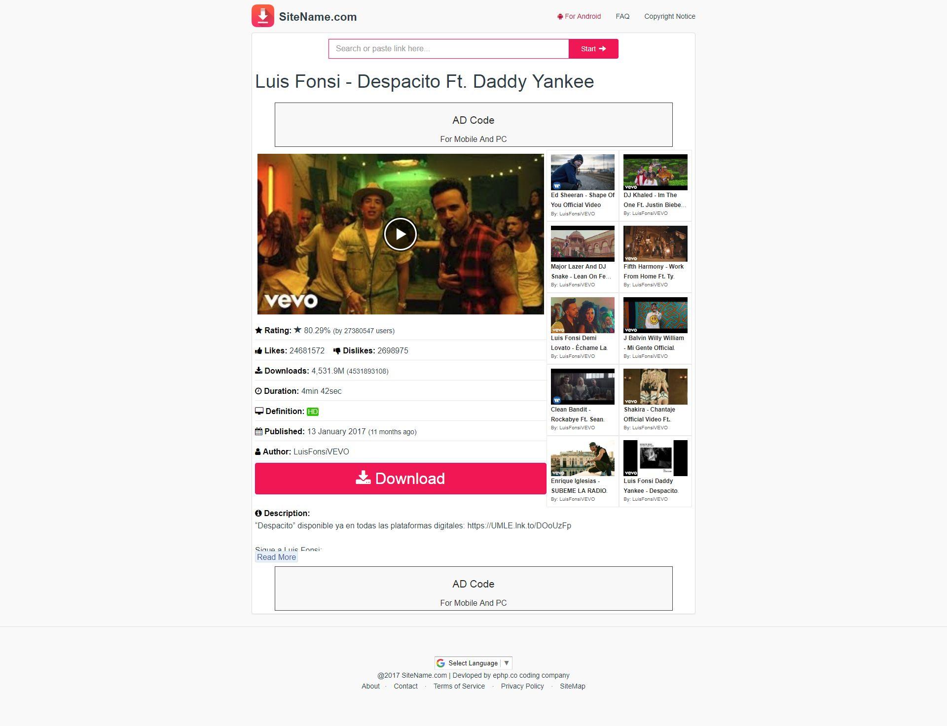 Tubedl Pro - Youtube Video Downloader PHP