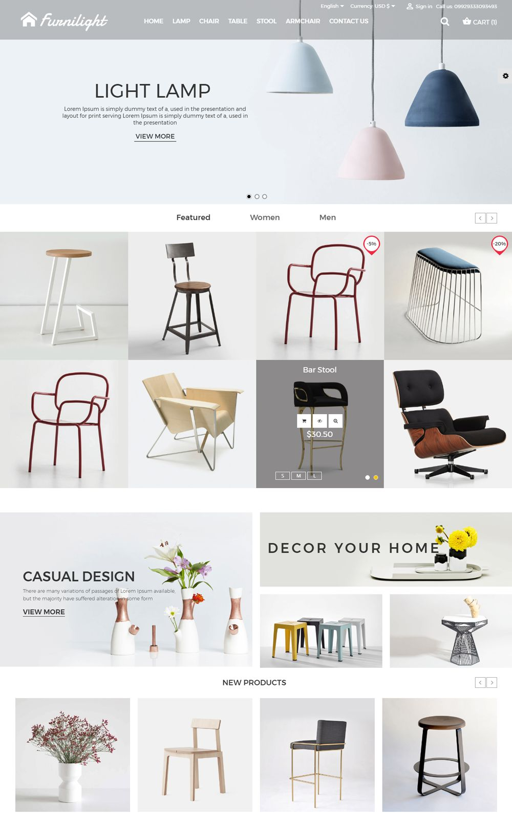 Furniture Light PrestaShop Theme Screenshot 1