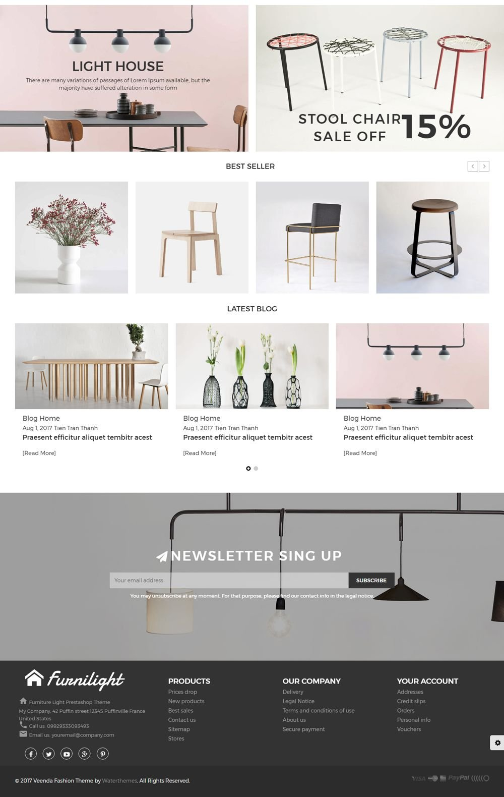 Furniture Light PrestaShop Theme Screenshot 2