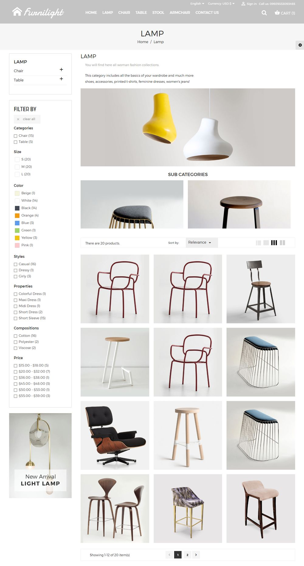 Furniture Light PrestaShop Theme Screenshot 3