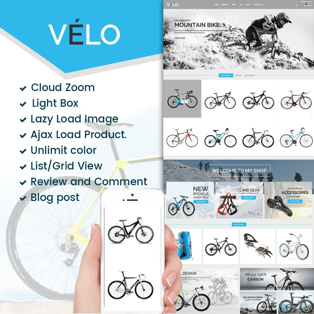 VeLo - Bike Sport Store PrestaShop Theme Screenshot 1