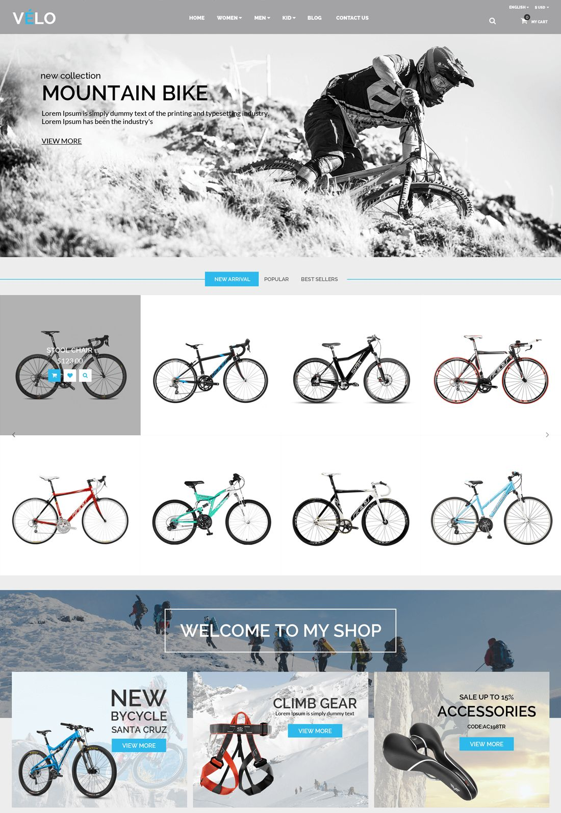 VeLo - Bike Sport Store PrestaShop Theme Screenshot 2