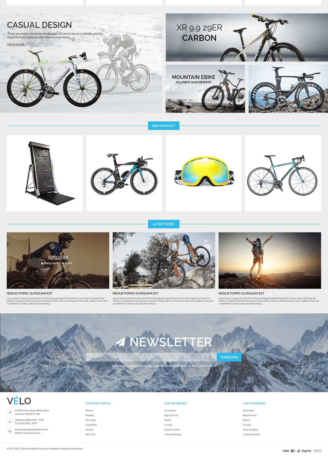 VeLo - Bike Sport Store PrestaShop Theme Screenshot 3