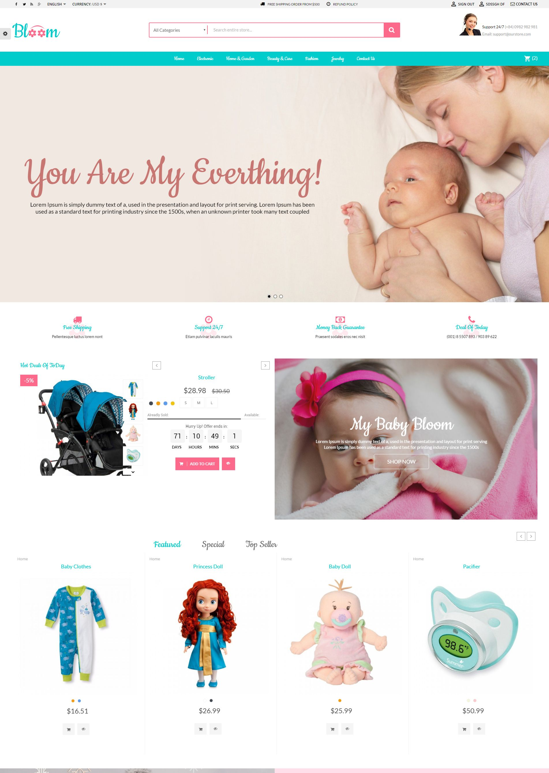 Mom Baby And Kids Toys PrestaShop Theme Screenshot 2