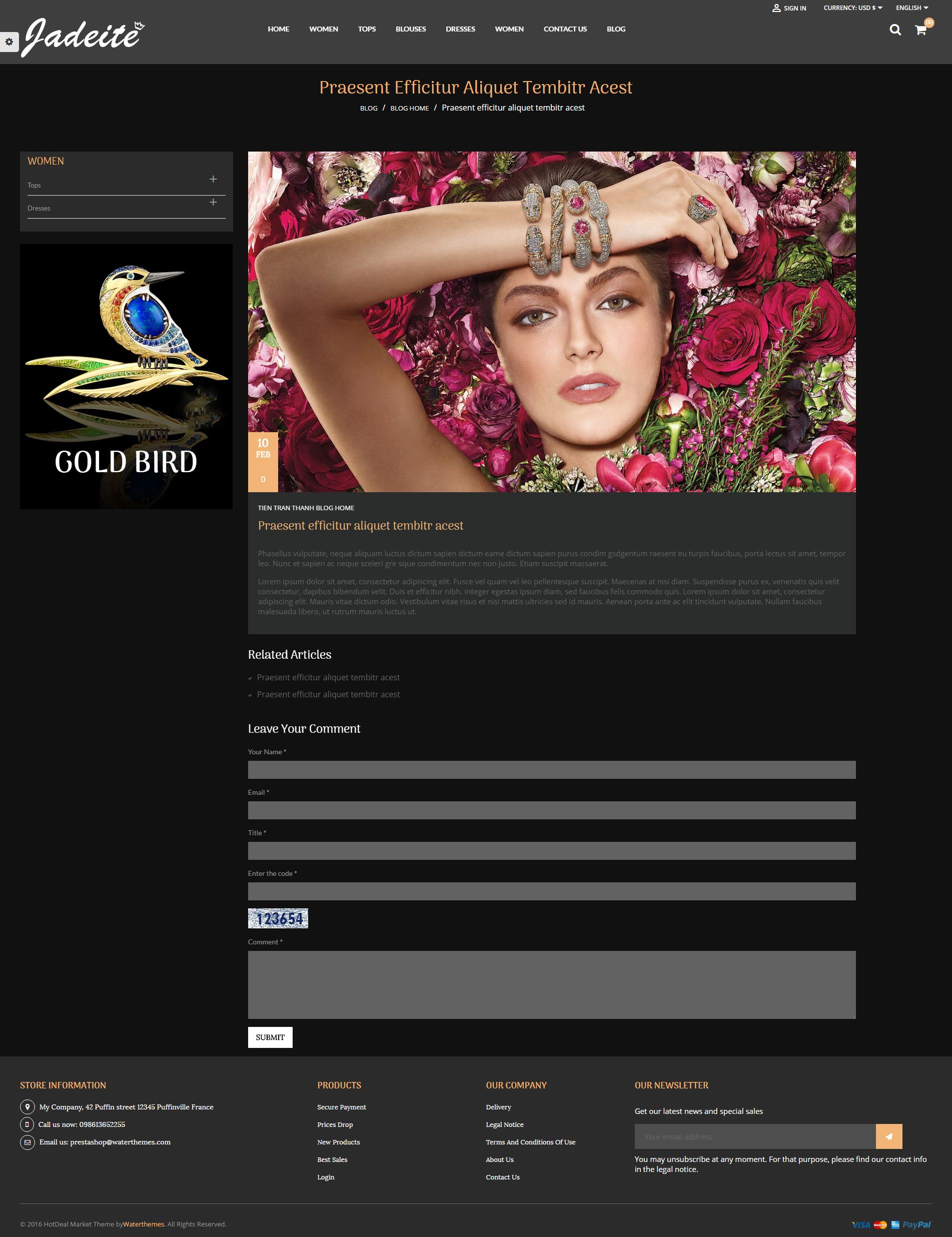 Jewelry PrestaShop Theme Screenshot 1