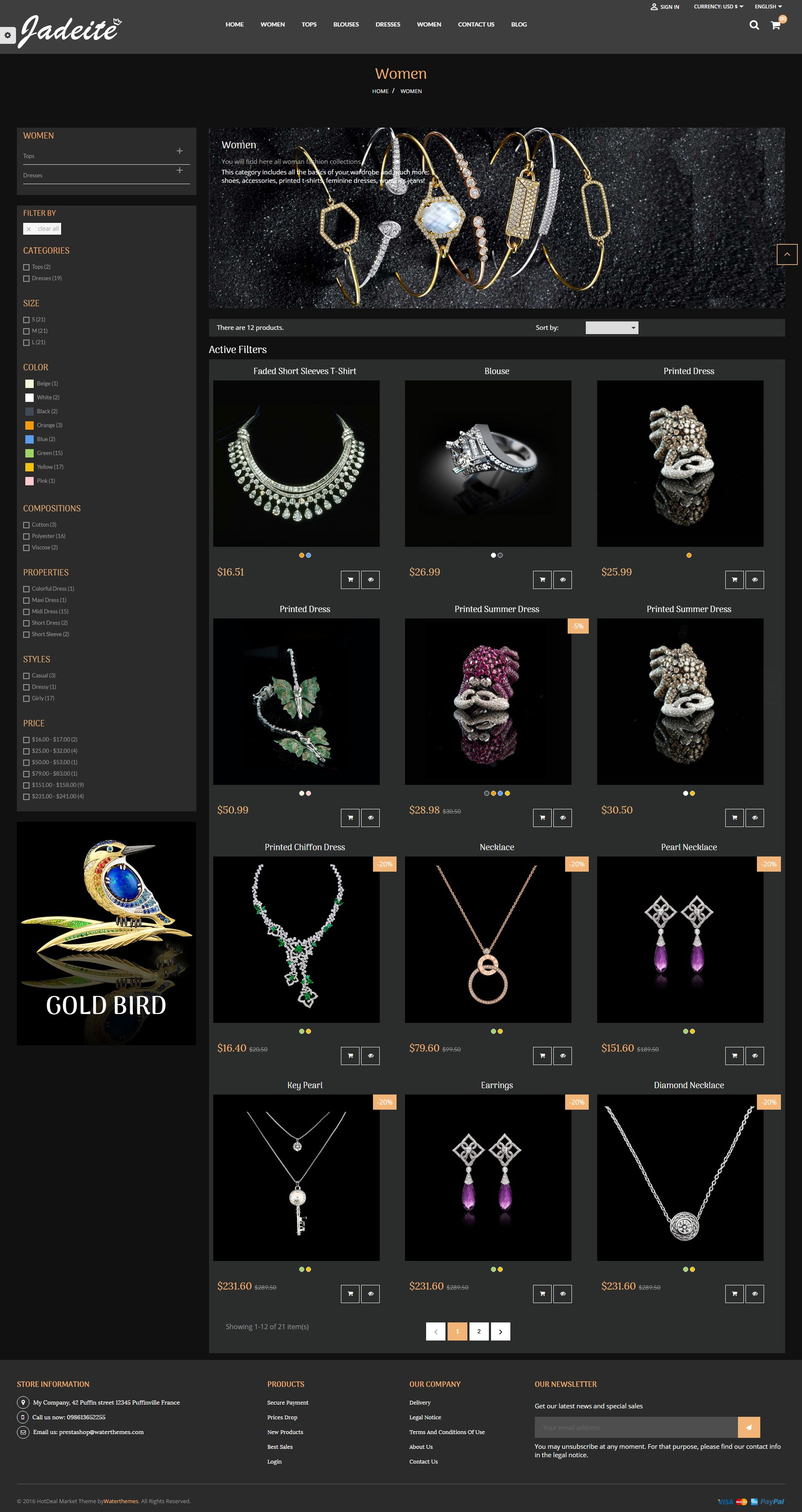 Jewelry PrestaShop Theme Screenshot 2