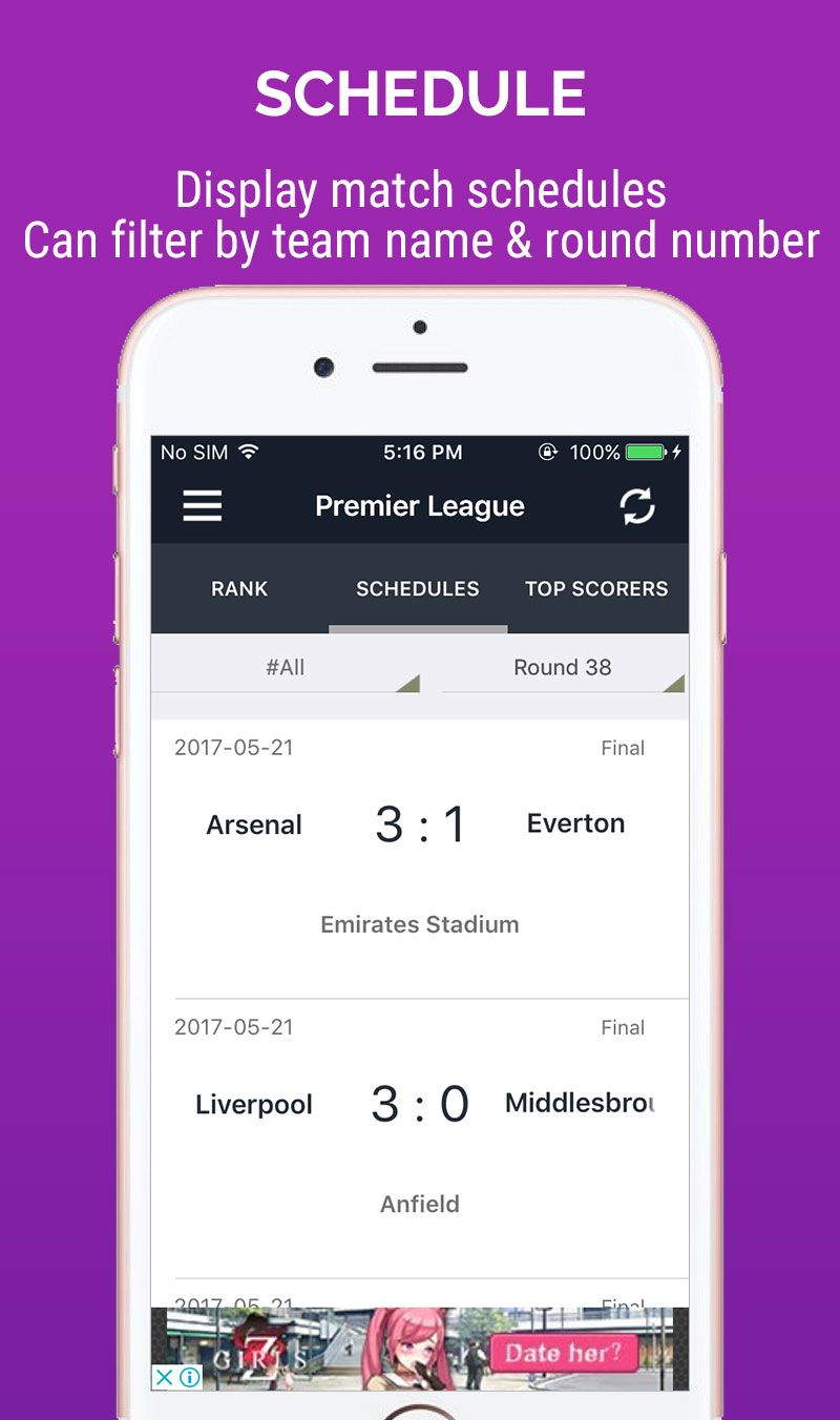 Live score football ios app template codester for Titanium app templates