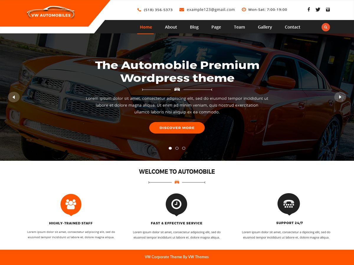 VW Automobile Pro - WordPress Theme Screenshot 1