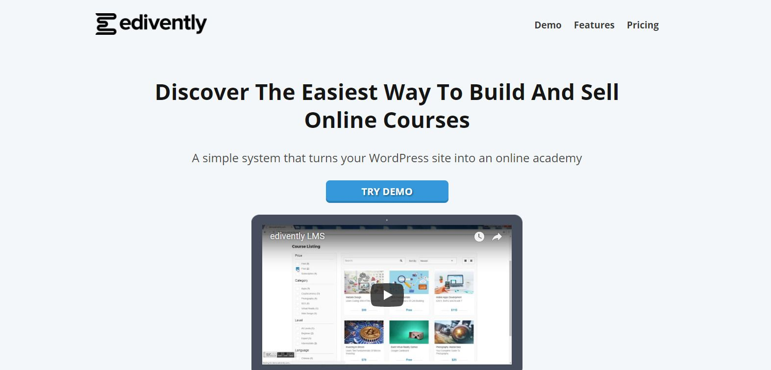 Edivently - Sell Courses WordPress Plugin Screenshot 1