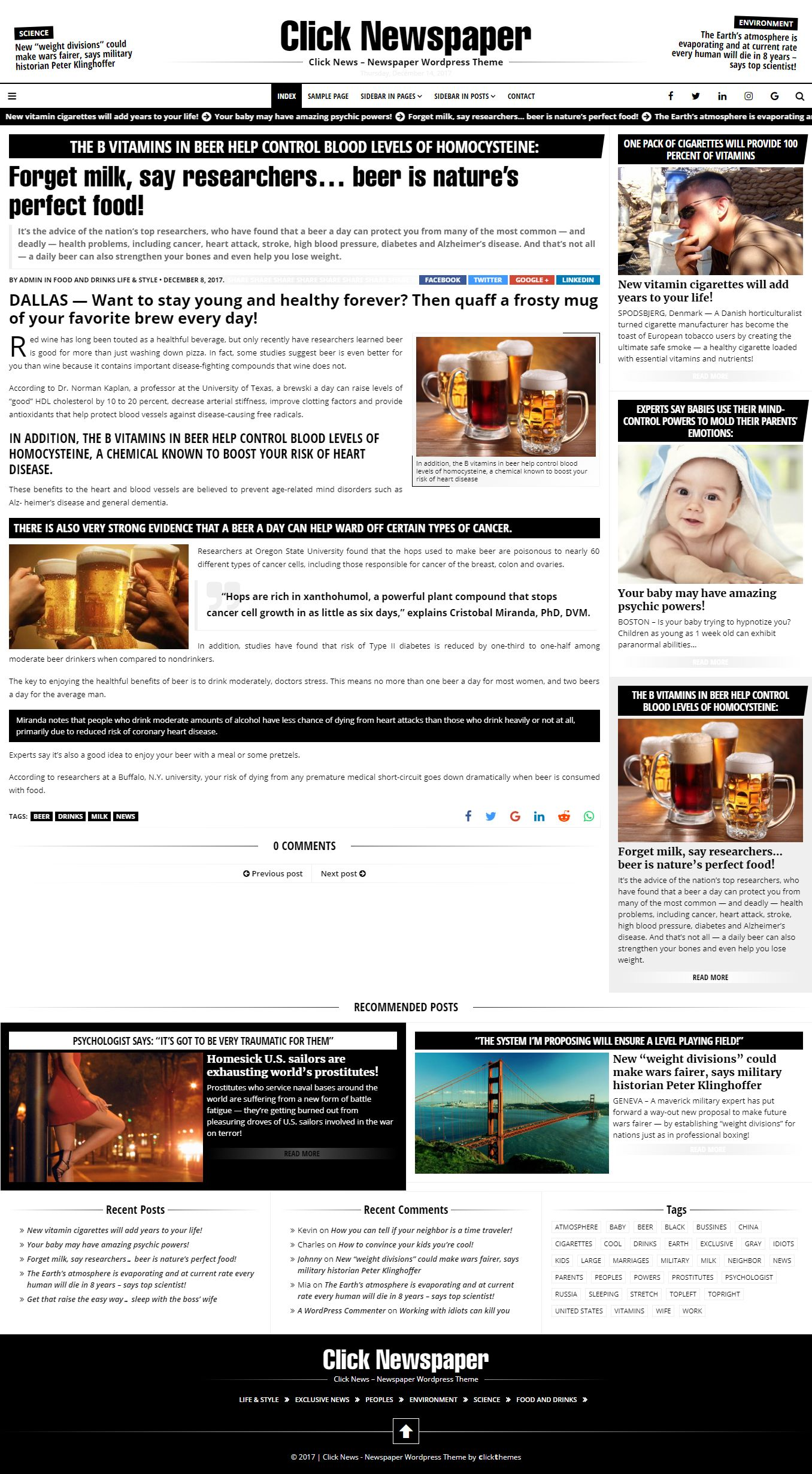 Click Newspaper - Wordpress Theme Screenshot 1